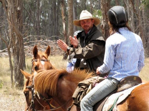 Mark explaining at a horsemanship clinic